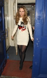 Kimberley Walsh leaving the Theatre Royal in London 1st February x9